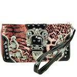 HOT PINK LEOPARD RHINESTONE BUCKLE STITCHED LOOK ZIPPER WALLET CB3-1215HPK