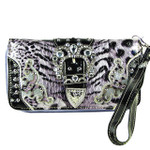 PURPLE LEOPARD RHINESTONE BUCKLE STITCHED LOOK ZIPPER WALLET CB3-1215PPL