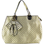 GOLD DIAMOND STITCHING WITH STUDDED RHINESTONE BOW FLAT DESIGN LOOK SHOULDER HANDBAG HB1-156GLD
