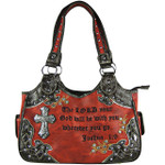 RED STUDDED RHINESTONE CROSS BIBLE VERSE LOOK SHOULDER HANDBAG HB1-CHF1120RED