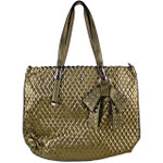 BROWN PLAIN PATTERN STITCHING FLAT BAG WITH STUDDED BOW DESIGN LOOK SHOULDER HANDBAG HB1-151BRN