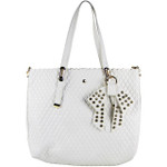 WHITE PLAIN PATTERN STITCHING FLAT BAG WITH STUDDED BOW DESIGN LOOK SHOULDER HANDBAG HB1-151WHT