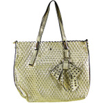 GOLD PLAIN PATTERN STITCHING FLAT BAG WITH STUDDED BOW DESIGN LOOK SHOULDER HANDBAG HB1-151GLD