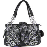 BLACK FLOWER STITCHED STUDDED BUCKLE LOOK SHOULDER HANDBAG HB1-W10BKBLK