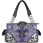 PURPLE FLOWER STITCHED STUDDED BUCKLE LOOK SHOULDER HANDBAG HB1-W10BKPPL
