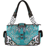 TURQUOISE FLOWER STITCHED STUDDED BUCKLE LOOK SHOULDER HANDBAG HB1-W10BKTRQ
