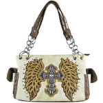 BEIGE RHINESTONE CROSS WITH TOOLED WINGS LOOK SHOULDER HANDBAG HB1-15LCRBEI