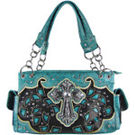 TURQUOISE TOOLED RHINESTONE CROSS STITCHED LOOK SHOULDER HANDBAG HB1-68LCRTRQ