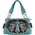 TURQUOISE STUDDED RHINESTONE CROSS STITCHED LOOK SHOULDER HANDBAG HB1-47LCRTRQ