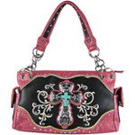 HOT PINK STUDDED RHINESTONE CROSS STITCHED LOOK SHOULDER HANDBAG HB1-47LCRHPK