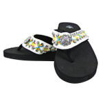 WHITE FLOWER RHINESTONE TRIBAL FASHION FLIP FLOP FF1-S069WHT