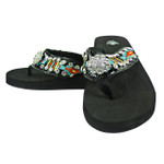 BLACK FLOWER RHINESTONE STRIPED TRIBAL FASHION FLIP FLOP FF1-S070BLK
