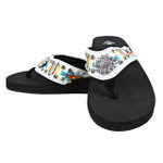WHITE FLOWER RHINESTONE STRIPED TRIBAL FASHION FLIP FLOP FF1-S070WHT