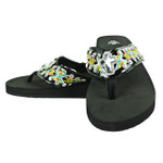 TURQUOISE CROSS RHINESTONE TRIBAL FASHION FLIP FLOP FF1-S072BLK