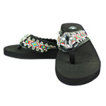 RED CROSS RHINESTONE TRIBAL FASHION FLIP FLOP FF1-S073BLK