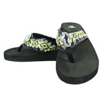 YELLOW TRIBAL CROSS RHINESTONE FASHION FLIP FLOP FF1-S074BLK