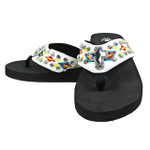 WHITE TRIBAL CROSS RHINESTONE FASHION FLIP FLOP FF1-S075WHT