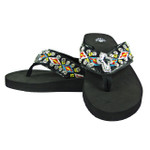 BLACK TRIBAL CROSS RHINESTONE FASHION FLIP FLOP FF1-S075BLK