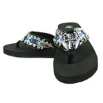 BLUE CROSS WITH WINGS RHINESTONE TRIBAL FASHION FLIP FLOP FF1-S078BLK