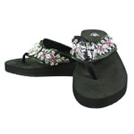 PINK CROSS WITH WINGS RHINESTONE TRIBAL FASHION FLIP FLOP FF1-S079BLK