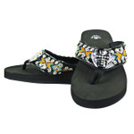 ORANGE CROSS WITH WINGS RHINESTONE TRIBAL FASHION FLIP FLOP FF1-S081BLK