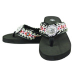 HOT PINK FLOWER RHINESTONE TRIBAL FASHION FLIP FLOP FF1-S087BLK