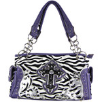 PURPLE ZEBRA RHINESTONE CROSS SHOULDER HANDBAG HB1-FZLCRPPL