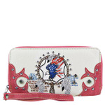 HOT PINK AMERICAN FLAG EAGLE LOOK ZIPPER WALLET CB3-1218HPK