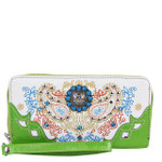 GREEN STUDDED PAISLEY STITCHED LOOK ZIPPER WALLET CB3-1216GRN