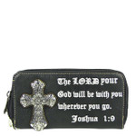 BLACK BIBLE VERSE STUDDED RHINESTONE CROSS LOOK ZIPPER WALLET CB3-0410BLK