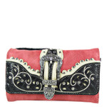 HOT PINK WITH YELLOW STITCHING WESTERN BUCKLE LOOK CLUTCH TRIFOLD WALLET CW1-1290HPK