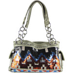 SILVER SEQUENCE TRIBAL STITCHED SHOULDER HANDBAG HB1-CHF1096SLV