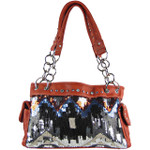 RED SEQUENCE TRIBAL STITCHED SHOULDER HANDBAG HB1-CHF1096RED