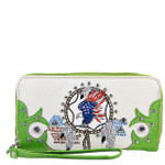 GREEN AMERICAN FLAG EAGLE LOOK ZIPPER WALLET CB3-1218GRN