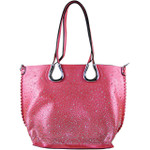 HOT PINK FULL METALLIC RHINESTONE LOOK SHOULDER HANDBAG HB1-AB8708HPK
