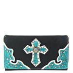 BLACK RHINESTONE STUDDED CROSS LOOK CHECKBOOK WALLET CB1-0427BLK