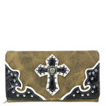BROWN RHINESTONE STUDDED CROSS LOOK CHECKBOOK WALLET CB1-0427BRN