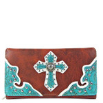 RED RHINESTONE STUDDED CROSS LOOK CHECKBOOK WALLET CB1-0427RED