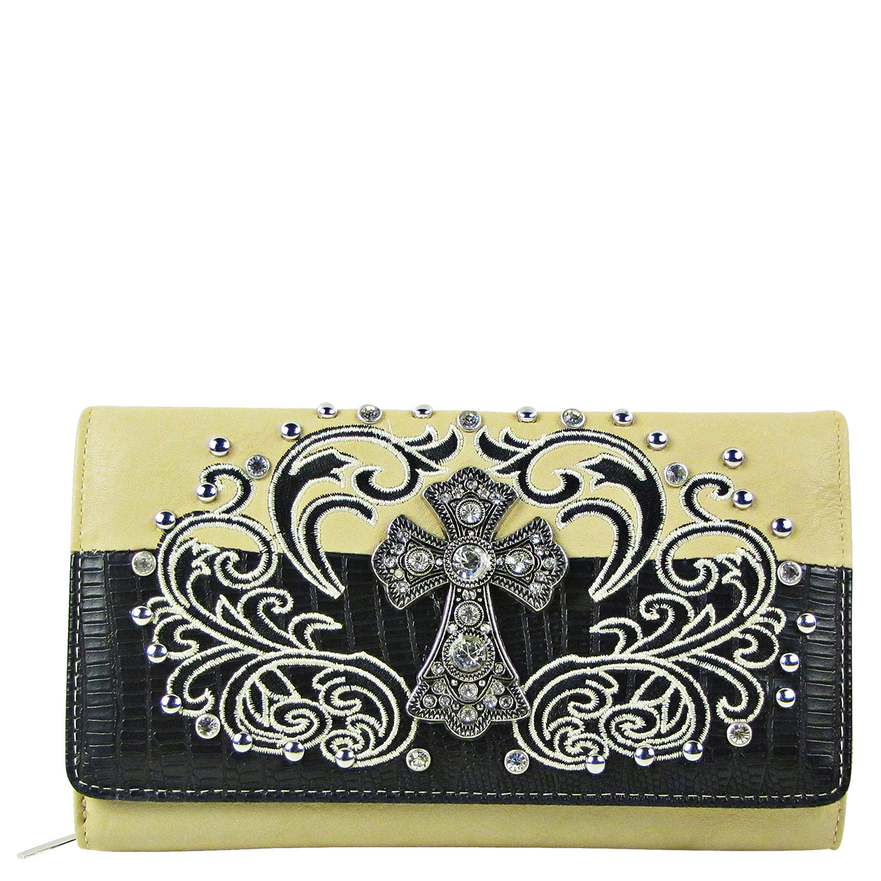 66b3ea54c31a59 Shop BEIGE RHINESTONE STUDDED CROSS LOOK WITH SWIRL DESIGN CHECKBOOK ...