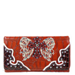 RED STUDDED RHINESTONE CROSS LOOK WITH WINGS DESIGN CHECKBOOK WALLET CB1-0429RED
