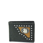 BLACK WESTERN TOOLED STUDDED EAGLE MENS WALLET MW1-0452BLK