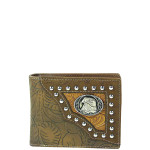 BROWN WESTERN TOOLED STUDDED EAGLE MENS WALLET MW1-0452BBRN