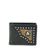 BLACK WESTERN TOOLED STUDDED STAR MENS WALLET MW1-0453BLK
