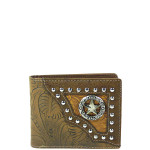 BROWN WESTERN TOOLED STUDDED STAR MENS WALLET MW1-0453BRN