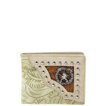 BEIGE WESTERN TOOLED STUDDED STAR MENS WALLET MW1-0453BEI