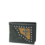 BLACK CROSS WESTERN TOOLED LOOK MENS WALLET MW1-0457BLK