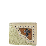 BEIGE CROSS WESTERN TOOLED LOOK MENS WALLET MW1-0457BEI