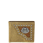 BEIGE SKULL WESTERN TOOLED LOOK MENS WALLET MW1-0458BEI