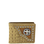 BEIGE CROSS WITH HORSE WESTERN TOOLED LOOK MENS WALLET MW1-0459BEI