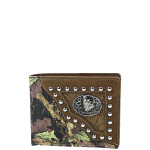 BROWN MOSSY CAMO WOLF WESTERN TOOLED LOOK MENS WALLET MW1-0461BRN